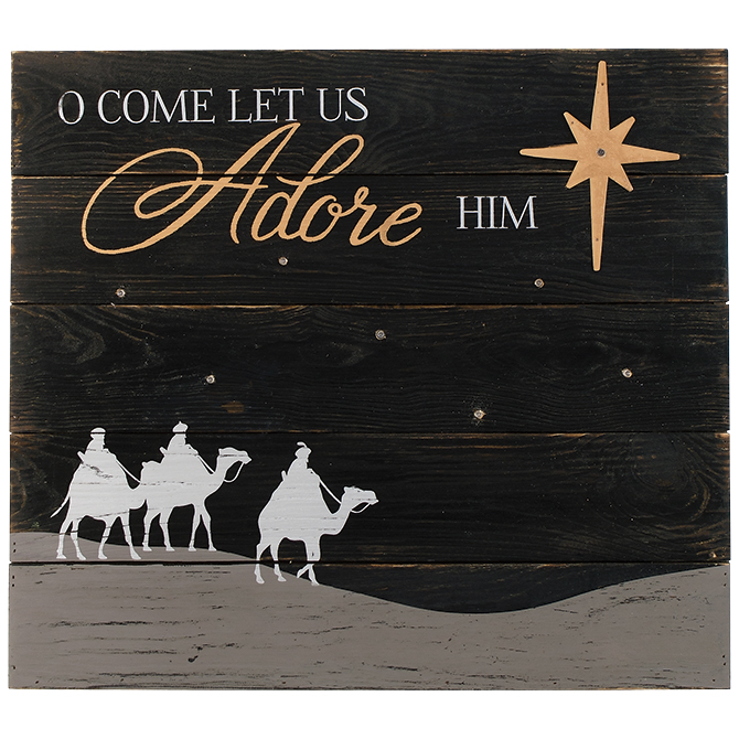 Oh Come Let Us Adore Him Wood Signs Christmas Signs Wood: O Come Let Us Adore Him LED Wall Decor