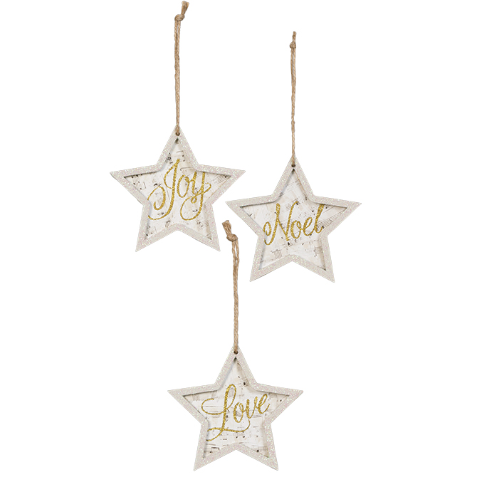 Assorted Joy, Noel, or Love Star Ornaments ornaments, star ornament, tree decor, holiday decor, joy, love, noel, star, glitter, 68514