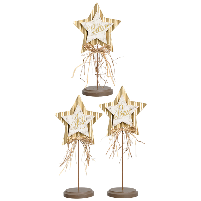 "Set of 3 ""Believe, Joy, Peace"" Pedestal Stars christmas decor, holiday decor, christmas stand,  decor, table decor, merry christmas,  stand, 68292"