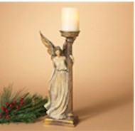 """17 1/2"""" Standing Angel Candleholder candle holder, angel, angel candle holder, table top display, christmas decoration, holiday decoration,"""