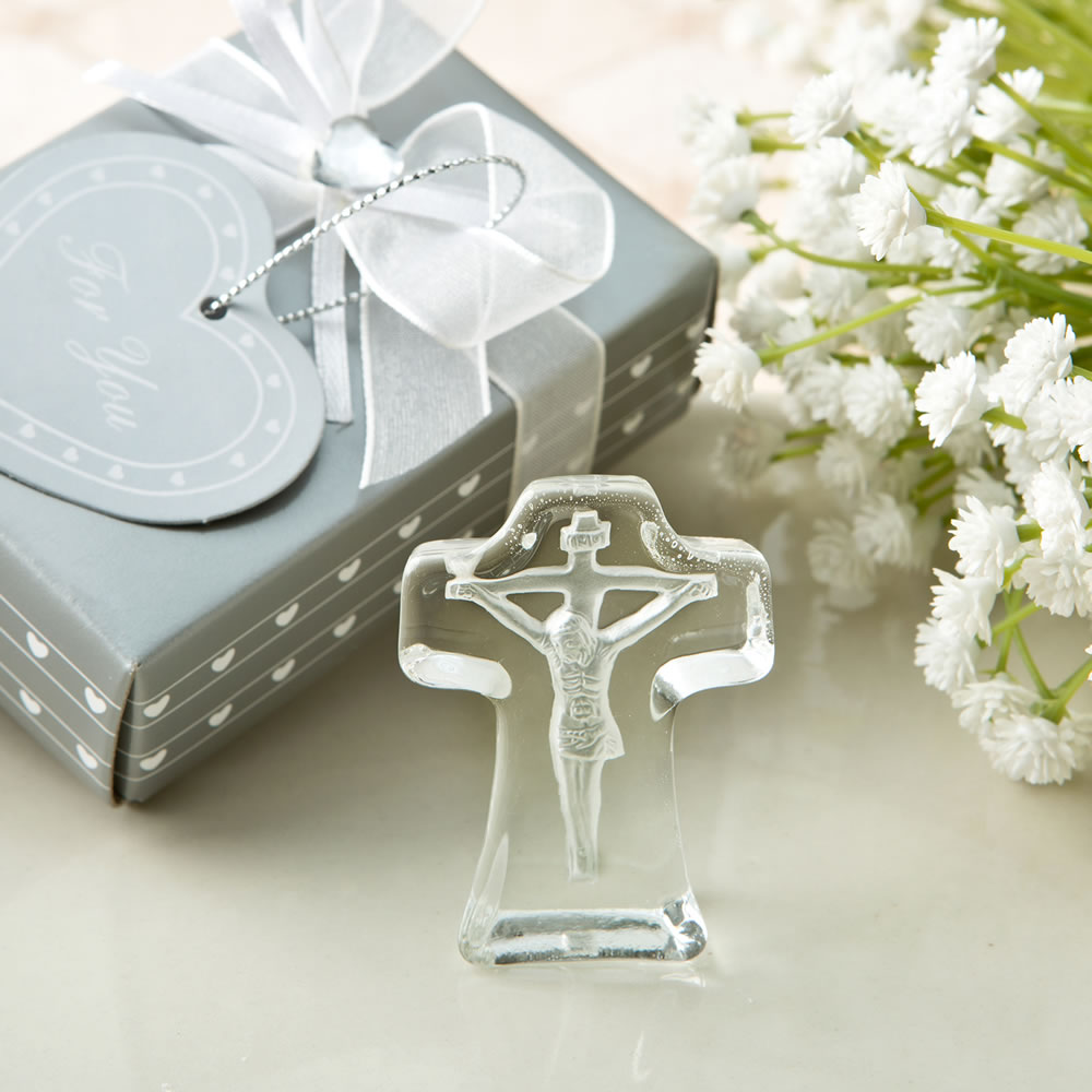 Crystal Cross with Deep Etch of Jesus crystal cross, etched cross, jesus cross, standing cross, retreat gift, party favors 2278