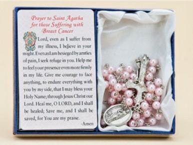 St. Agatha Healing Rosary paton saint rosary, healing rosary, rosary gift set, medal, prayer card, gift boxed,
