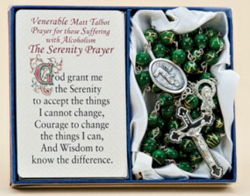 Matt Talbot Healing Rosary paton saint rosary, healing rosary, rosary gift set, medal, prayer card, gift boxed, alcoholism, emerald bead, green bead, 48 310 10