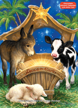 Peace on Earth Jesus with Animals Advent Calendar with Chocolate