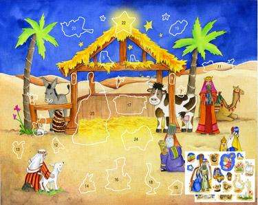 Starlit Stable Sticker Advent Calendar advent calendar, calendar, animals, advent season, christmas calendar,