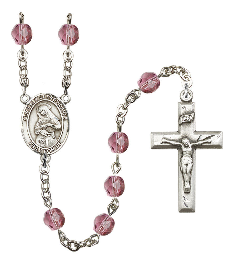 Our Lady of Providence Patron Saint Rosary, Square Crucifix patron saint, patron saint rosary, rosary sacramental gifts, Our Lady of Providence Patron Saint Rosary,patron saint of Puerto Rico,Amethyst, silver plated,8087