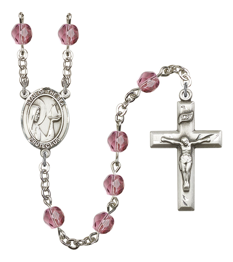 Our Lady Star of the Sea Patron Saint Rosary, Square Crucifix patron saint, patron saint rosary, rosary sacramental gifts, Our Lady Star of the Sea Patron Saint Rosary,patron saint of Sailors,Amethyst, silver plated,8101