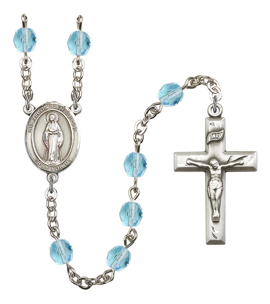 Virgin of the Globe Patron Saint Rosary, Square Crucifix patron saint, patron saint rosary, rosary sacramental gifts, Virgin of the Globe Patron Saint Rosary,patron saint of ,Amethyst, silver plated,8345