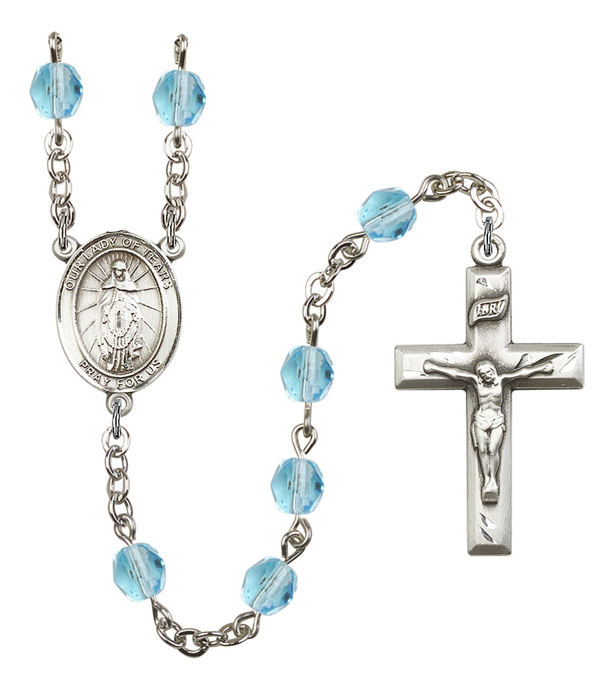 Our Lady of Tears Patron Saint Rosary, Square Crucifix patron saint, patron saint rosary, rosary sacramental gifts, Our Lady of Tears Patron Saint Rosary,patron saint of ,Amethyst, silver plated,8346