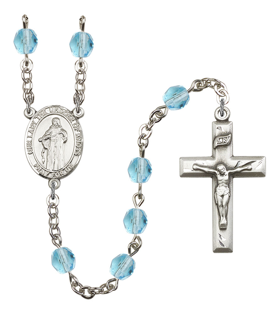 Our Lady the Undoer of Knots Patron Saint Rosary, Square Crucifix patron saint, patron saint rosary, rosary sacramental gifts, Our Lady the Undoer of Knots Patron Saint Rosary,patron saint of ,Amethyst, silver plated,8383