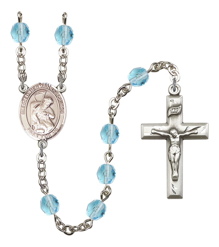 Blessed Herman the Cripple Patron Saint Rosary, Square Crucifix patron saint, patron saint rosary, rosary sacramental gifts, Blessed Herman the Cripple medPatron Saint Rosary,patron saint of ,Amethyst, silver plated,8403