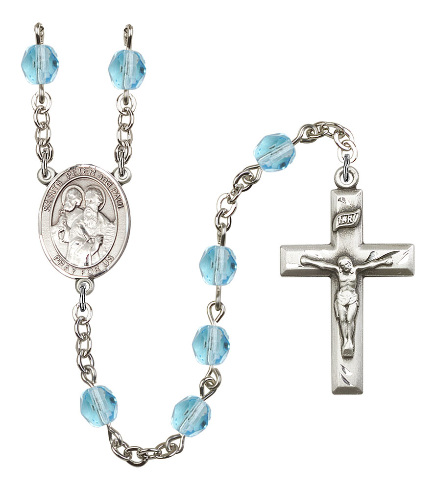 Sts. Peter & Paul Patron Saint Rosary, Square Crucifix patron saint, patron saint rosary, rosary sacramental gifts, Sts. Peter & Paul Patron Saint Rosary,patron saint of ,Amethyst, silver plated,8410