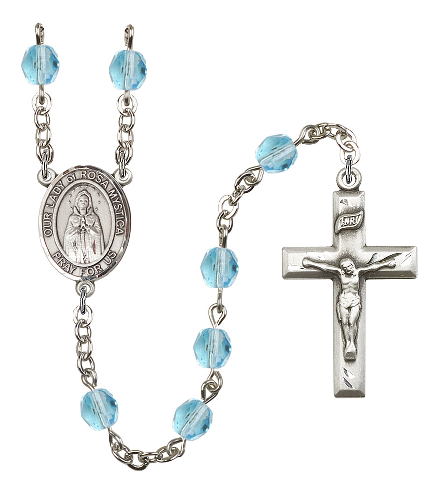 Our Lady of Rosa Mystica Patron Saint Rosary, Square Crucifix patron saint, patron saint rosary, rosary sacramental gifts, Our Lady of Rosa Mystica Patron Saint Rosary,patron saint of ,Amethyst, silver plated,8413