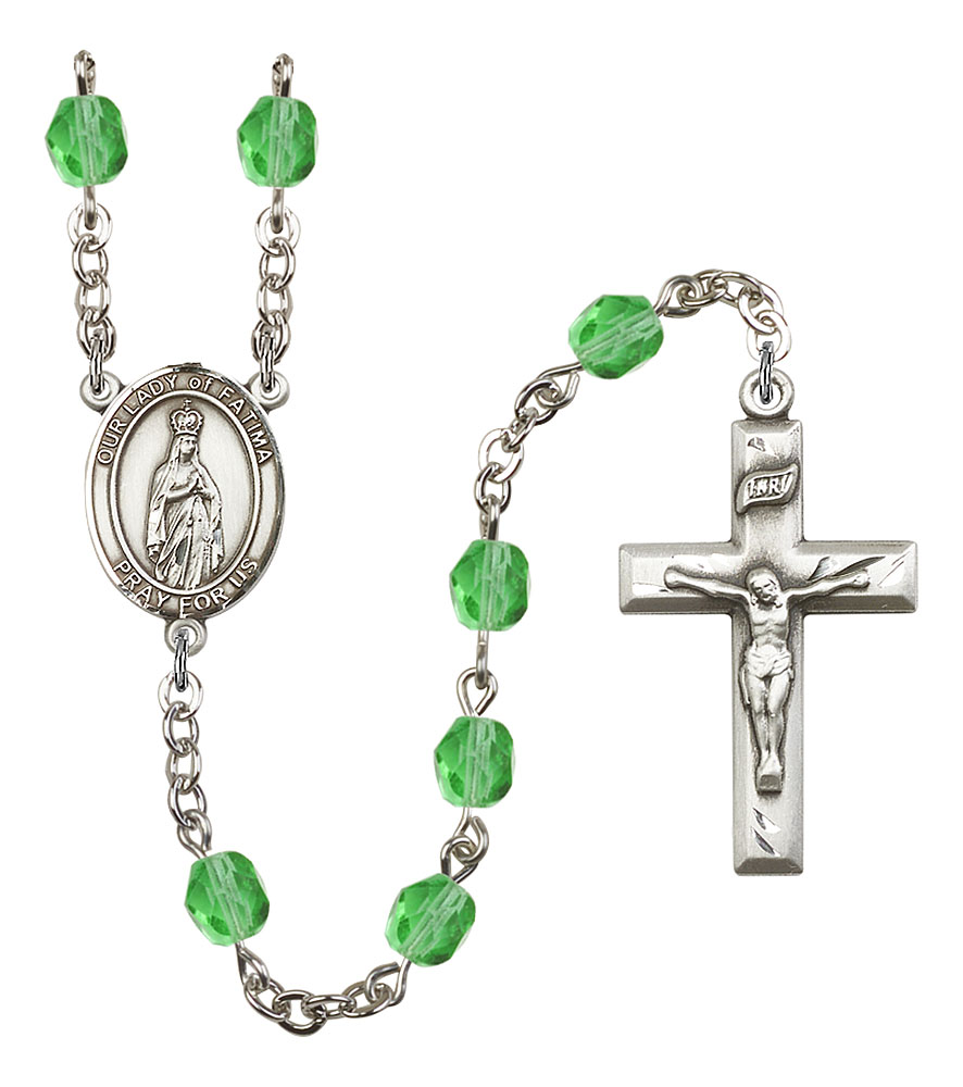 Our Lady of Fatima Patron Saint Rosary, Square Crucifix patron saint, patron saint rosary, rosary sacramental gifts, Our Lady of Fatima Patron Saint Rosary,patron saint of ,Amethyst, silver plated,8205