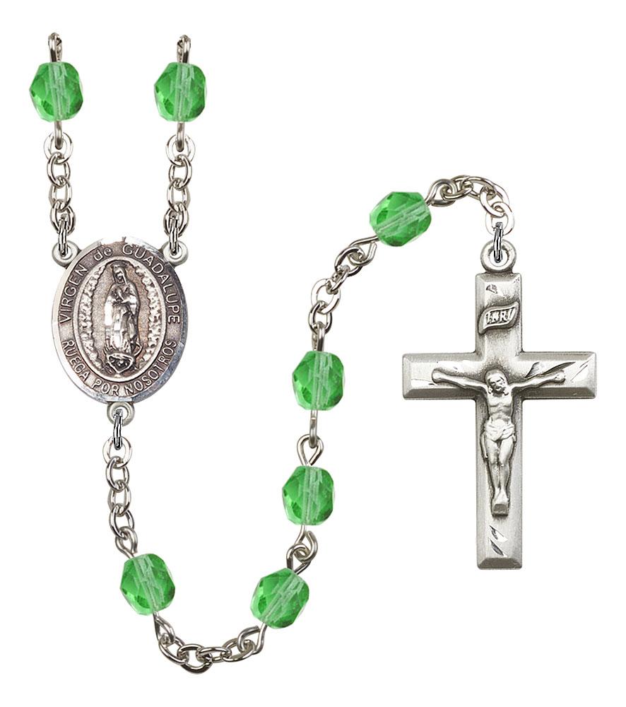Virgen de Guadalupe Patron Saint Rosary, Square Crucifix patron saint, patron saint rosary, rosary sacramental gifts, Virgen de Guadalupe Patron Saint Rosary,patron saint of Central America,Amethyst, silver plated,8206