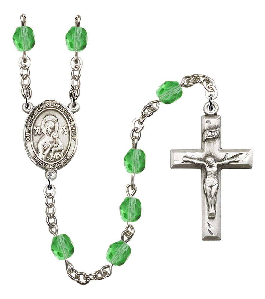 Our Lady of Perpetual Help Patron Saint Rosary, Square Crucifix patron saint, patron saint rosary, rosary sacramental gifts, Our Lady of Perpetual Help Patron Saint Rosary,patron saint of Never Failing Hope,Amethyst, silver plated,8222