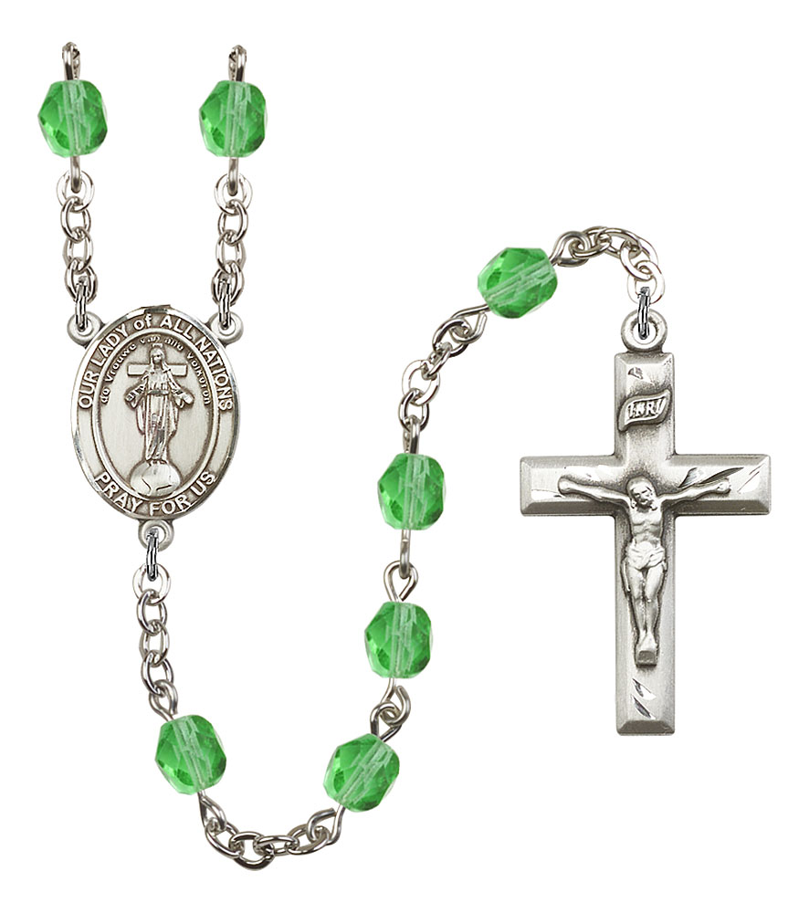 Our Lady of All Nations Patron Saint Rosary, Square Crucifix patron saint, patron saint rosary, rosary sacramental gifts, Our Lady of All Nations Patron Saint Rosary,patron saint of ,Amethyst, silver plated,8242