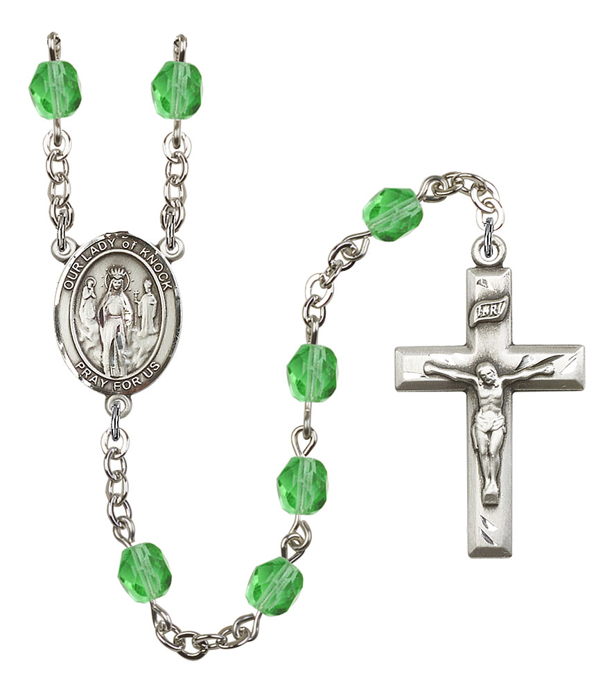 Our Lady of Knock Patron Saint Rosary, Square Crucifix patron saint, patron saint rosary, rosary sacramental gifts, Our Lady of Knock Patron Saint Rosary,patron saint of Ireland,Amethyst, silver plated,8246