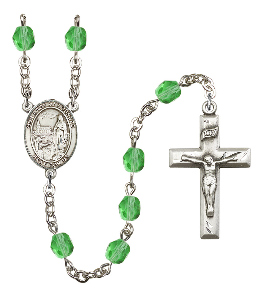 Our Lady of Lourdes Patron Saint Rosary, Square Crucifix patron saint, patron saint rosary, rosary sacramental gifts, Our Lady of Lourdes Patron Saint Rosary,patron saint of ,Amethyst, silver plated,8288