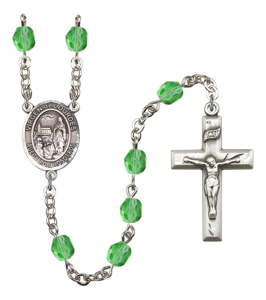 Virgen del Lourdes Patron Saint Rosary, Square Crucifix patron saint, patron saint rosary, rosary sacramental gifts, Virgen del Lourdes Patron Saint Rosary,patron saint of ,Amethyst, silver plated,8288