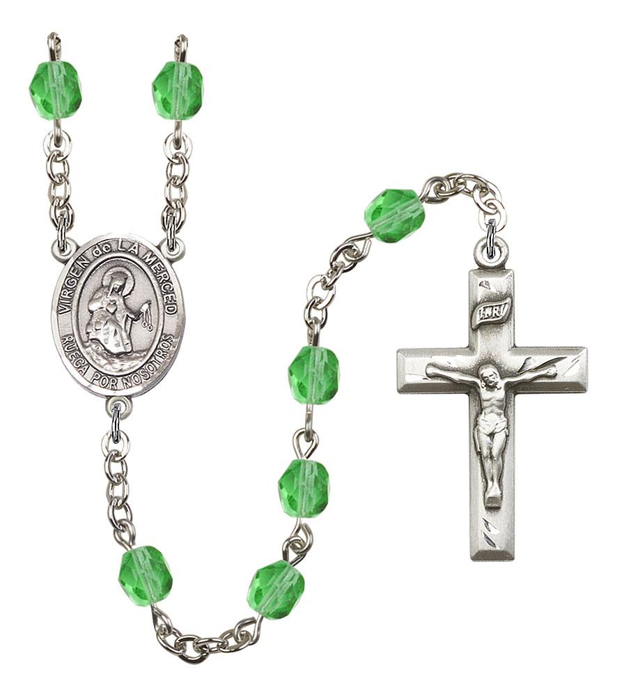 Virgen de la Merced Patron Saint Rosary, Square Crucifix patron saint, patron saint rosary, rosary sacramental gifts, Virgen de la Merced Patron Saint Rosary,patron saint of ,Amethyst, silver plated,8289