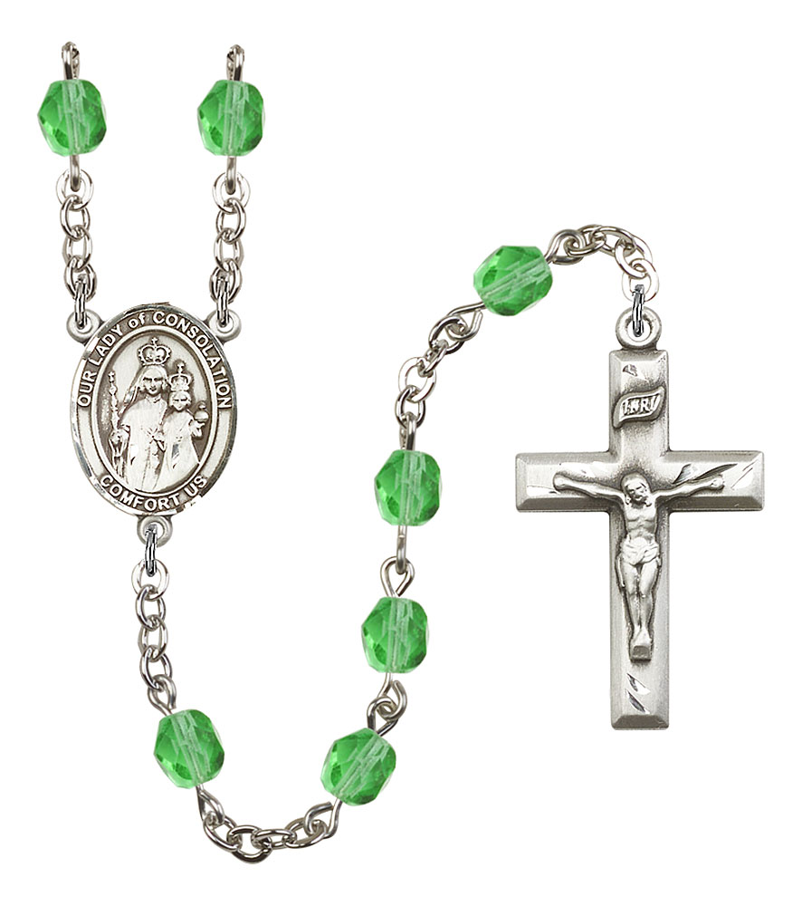 Our Lady of Consolation Patron Saint Rosary, Square Crucifix patron saint, patron saint rosary, rosary sacramental gifts, Our Lady of Consolation Patron Saint Rosary,patron saint of ,Amethyst, silver plated,8292