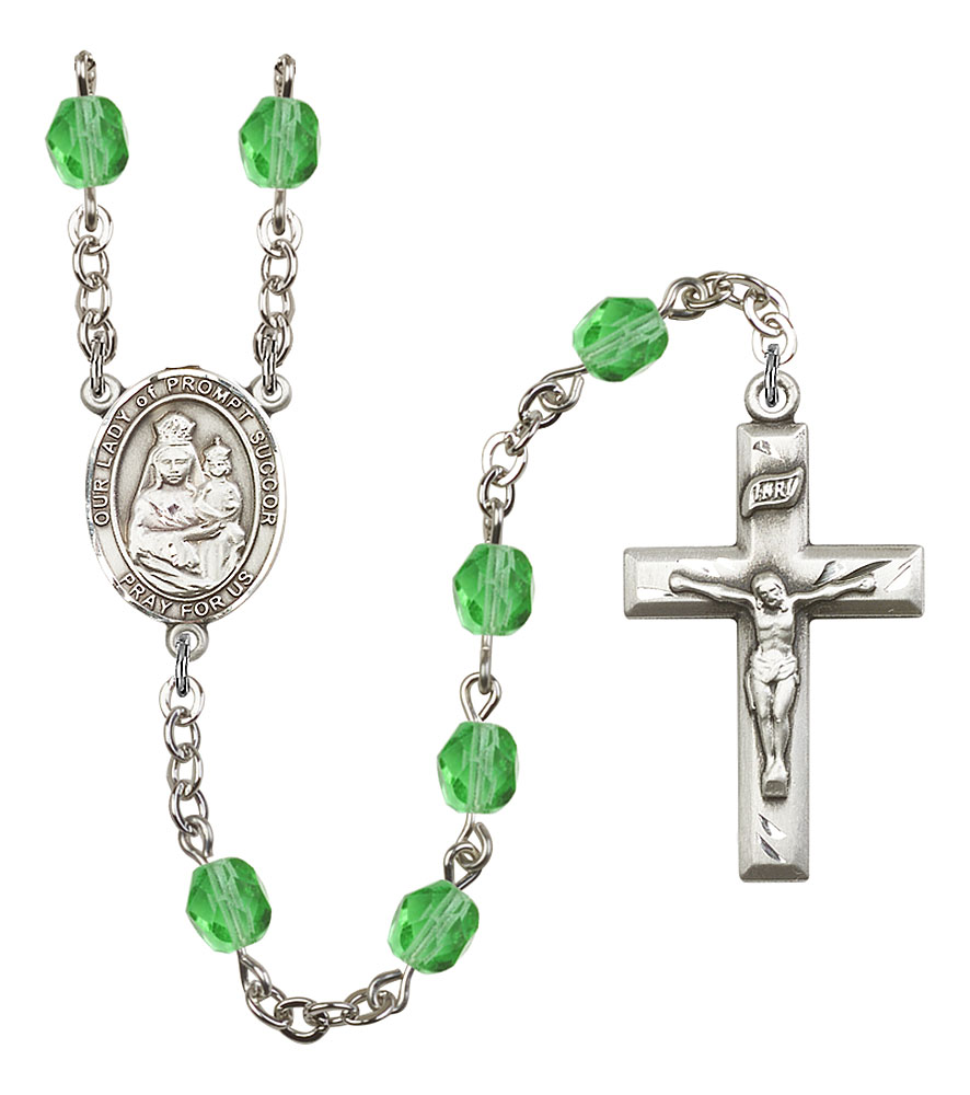 Our Lady of Prompt Succor Patron Saint Rosary, Square Crucifix patron saint, patron saint rosary, rosary sacramental gifts, Our Lady of Prompt Succor Patron Saint Rosary,patron saint of ,Amethyst, silver plated,8299