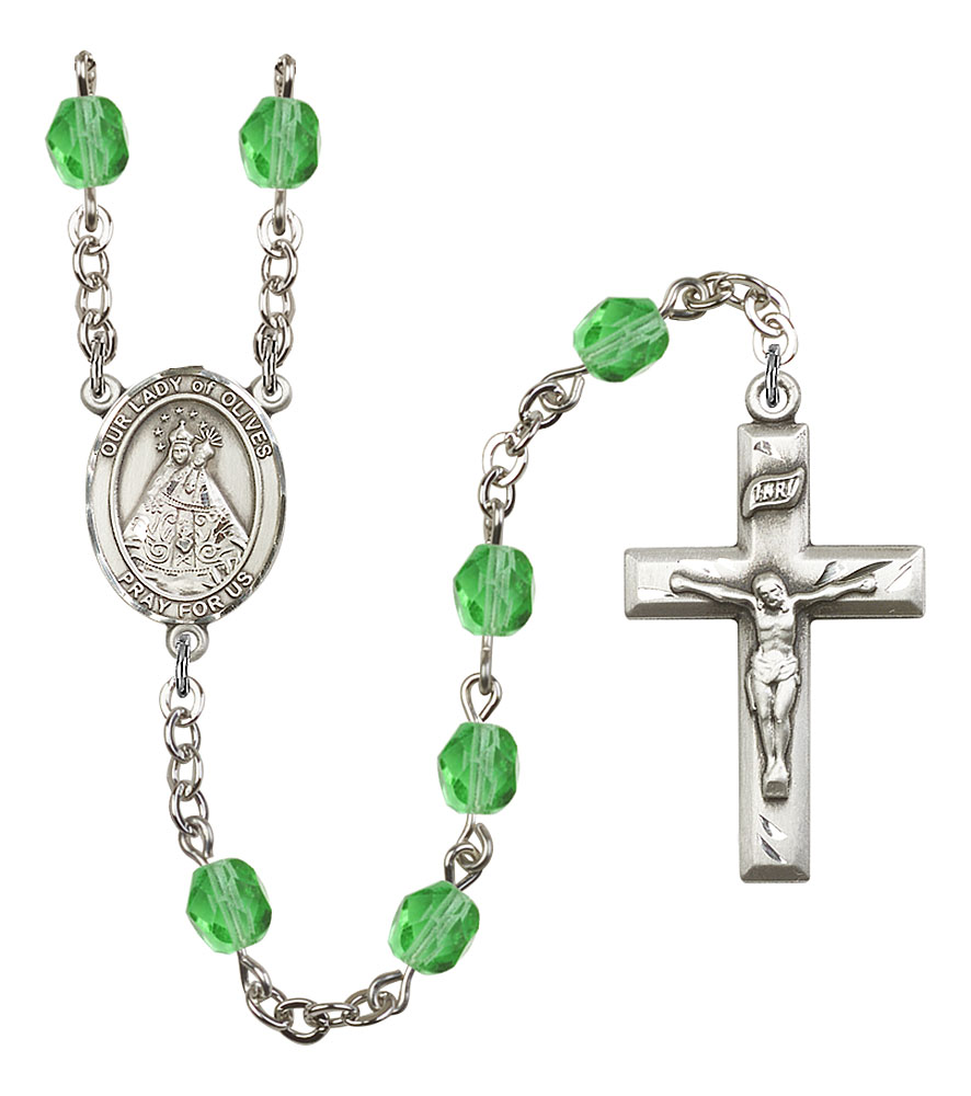 Our Lady of Olives Patron Saint Rosary, Square Crucifix patron saint, patron saint rosary, rosary sacramental gifts, Our Lady of Olives Patron Saint Rosary,patron saint of ,Amethyst, silver plated,8303