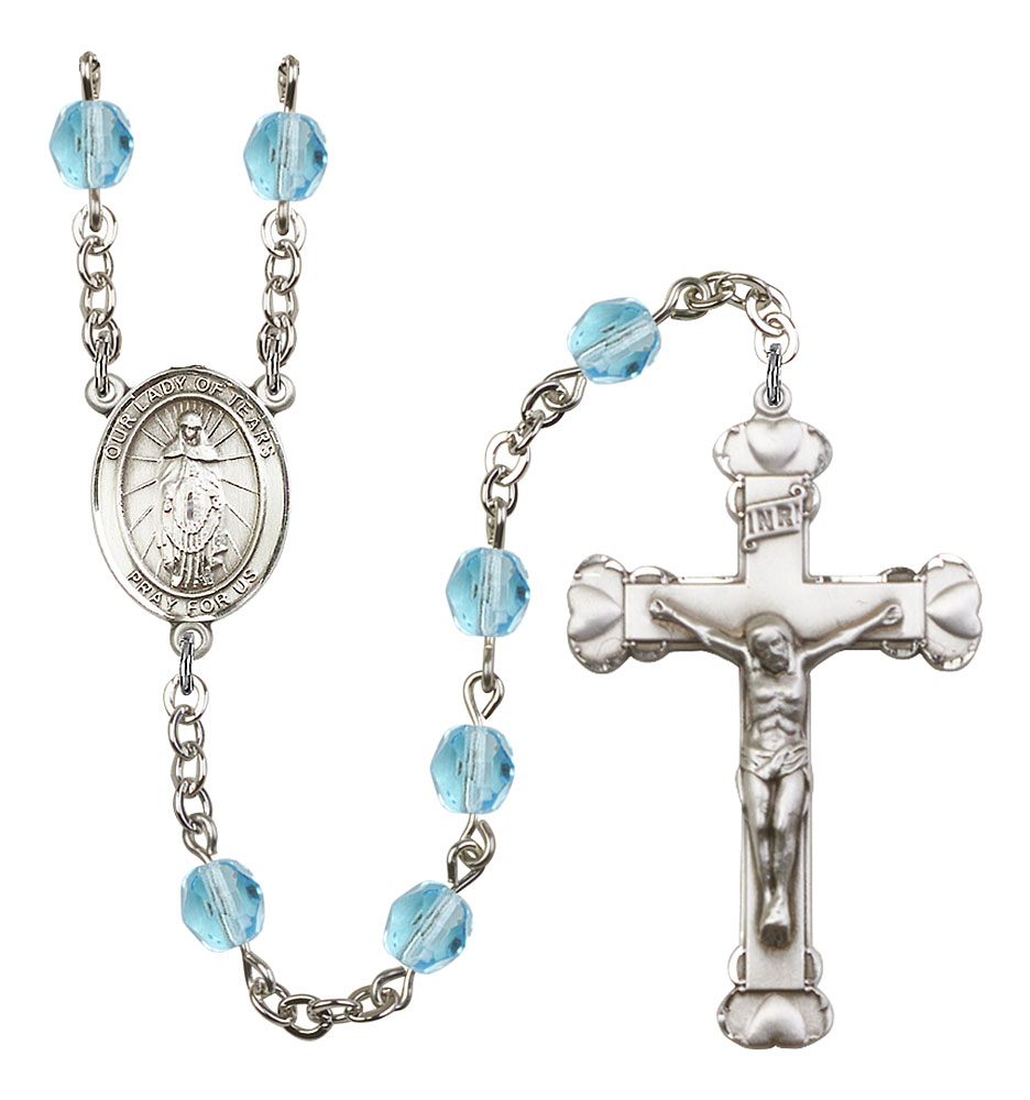 Our Lady of Tears Patron Saint Rosary, Scalloped Crucifix patron saint, patron saint rosary, rosary sacramental gifts, Our Lady of Tears Patron Saint Rosary,patron saint of ,Amethyst, silver plated,8346
