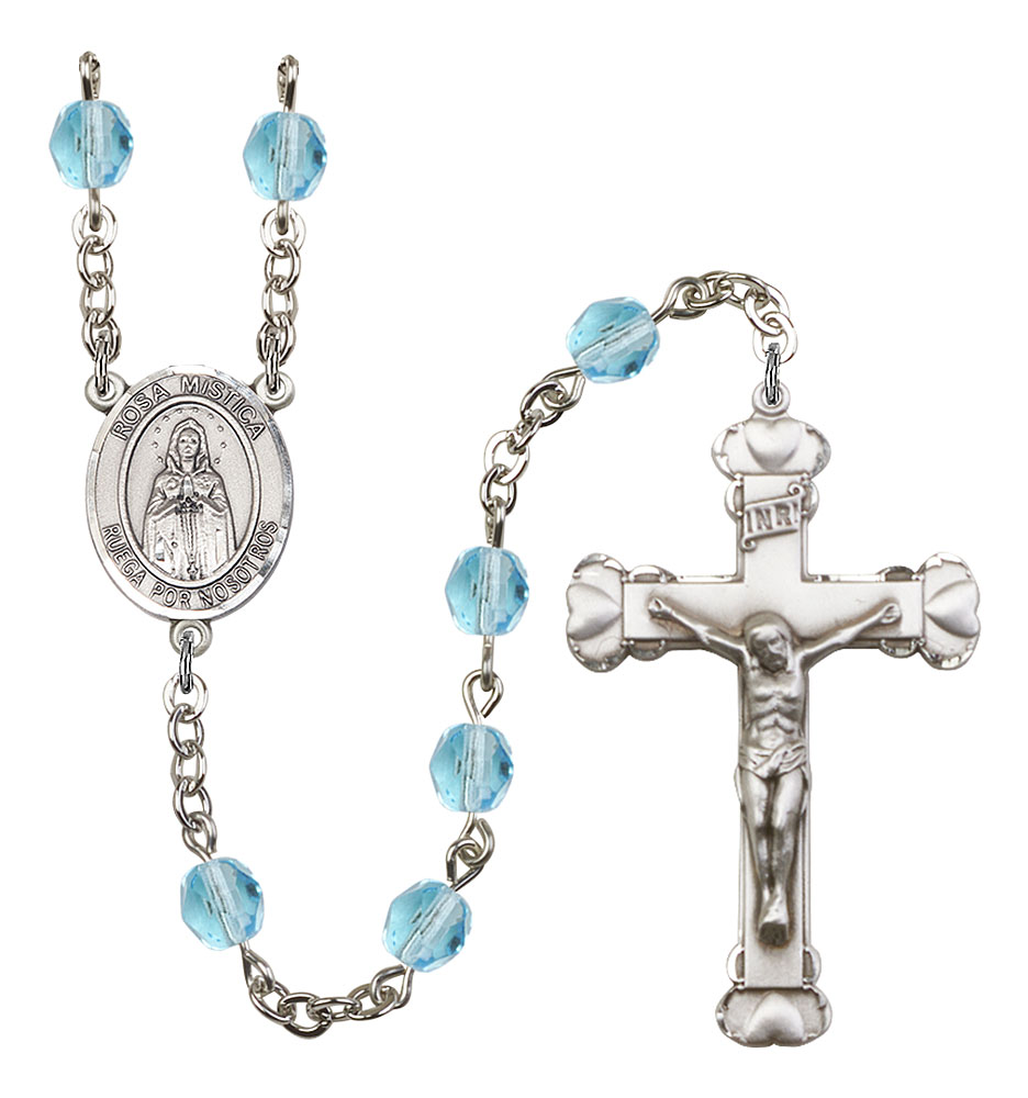 Our Lady Rosa Mystica Patron Saint Rosary, Scalloped Crucifix patron saint, patron saint rosary, rosary sacramental gifts, Our Lady Rosa Mystica Patron Saint Rosary,patron saint of ,Amethyst, silver plated,8413