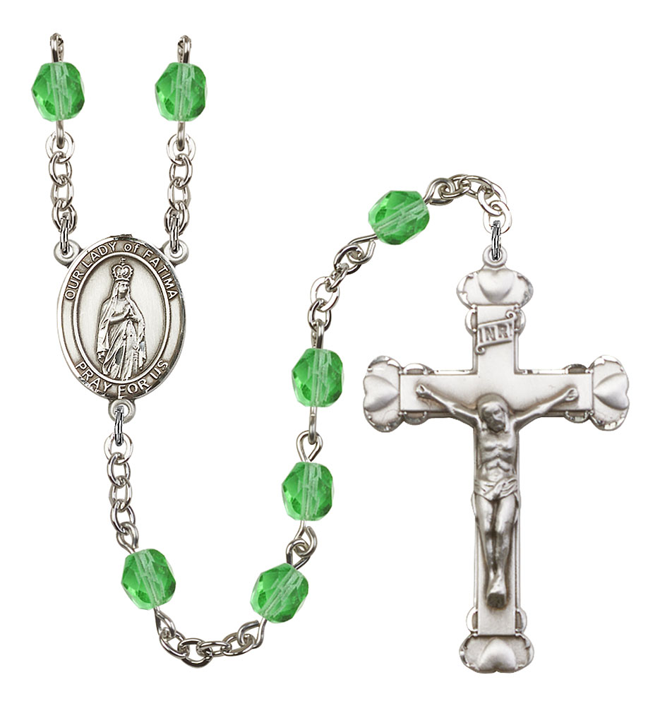 Our Lady of Fatima Patron Saint Rosary, Scalloped Crucifix patron saint, patron saint rosary, rosary sacramental gifts, Our Lady of Fatima Patron Saint Rosary,patron saint of ,Amethyst, silver plated,8205