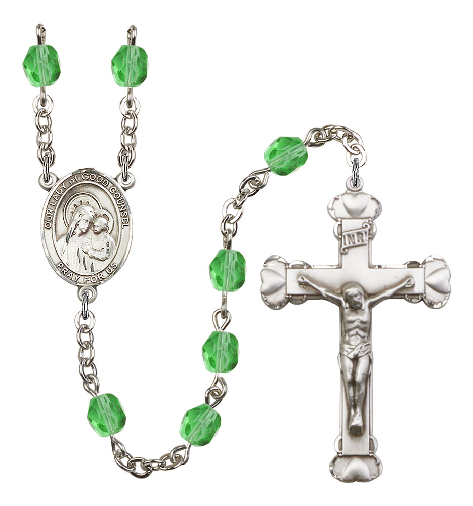 Our Lady of Good Counsel Patron Saint Rosary, Scalloped Crucifix patron saint, patron saint rosary, rosary sacramental gifts, Our Lady of Good Counsel Patron Saint Rosary,patron saint of ,Amethyst, silver plated,8287