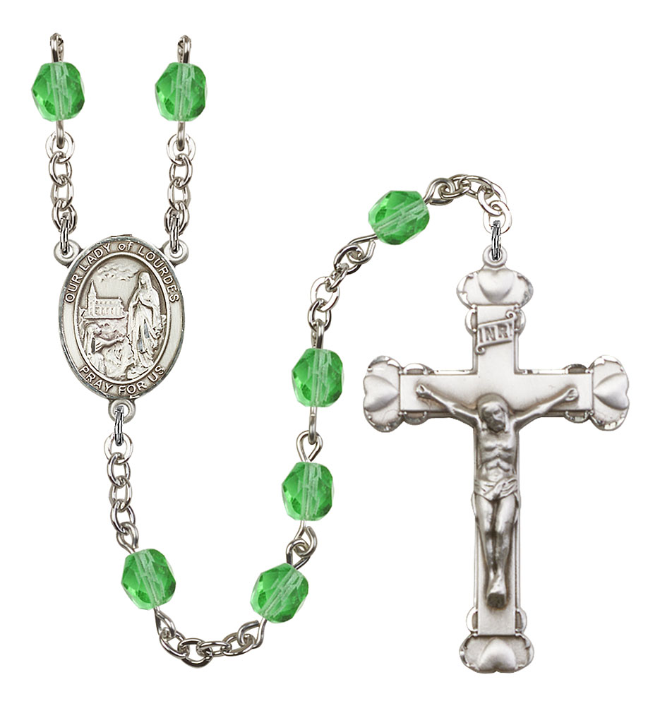 Our Lady of Lourdes Patron Saint Rosary, Scalloped Crucifix patron saint, patron saint rosary, rosary sacramental gifts, Our Lady of Lourdes Patron Saint Rosary,patron saint of ,Amethyst, silver plated,8288