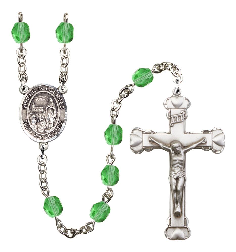 Virgen del Lourdes Patron Saint Rosary, Scalloped Crucifix patron saint, patron saint rosary, rosary sacramental gifts, Virgen del Lourdes Patron Saint Rosary,patron saint of ,Amethyst, silver plated,8288