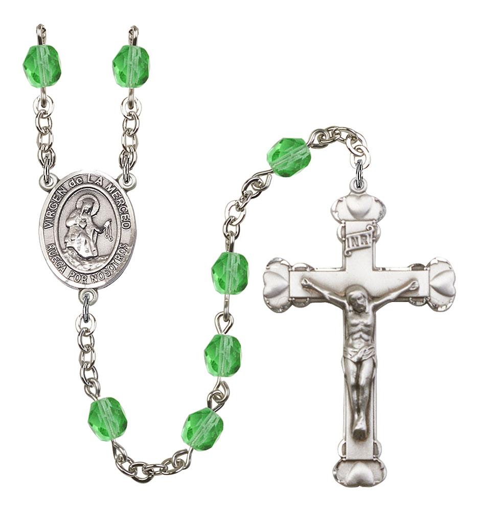 Virgen de la Merced Patron Saint Rosary, Scalloped Crucifix patron saint, patron saint rosary, rosary sacramental gifts, Virgen de la Merced Patron Saint Rosary,patron saint of ,Amethyst, silver plated,8289