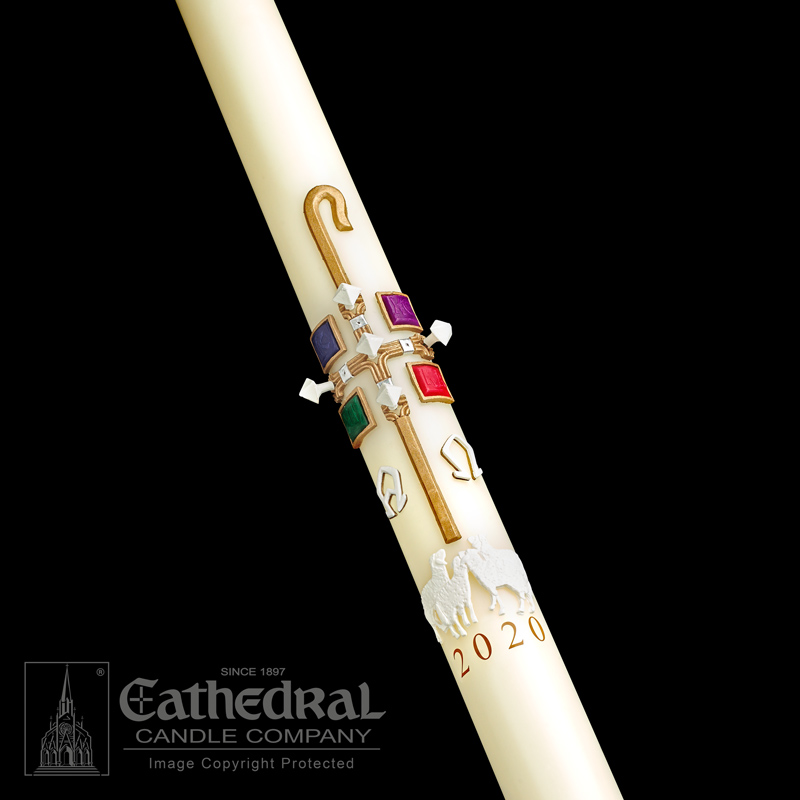 The Good Shepherd™ Paschal Candle Paschal Candle, Easter Candle, Paschal, Easter, Cathedral Candle,Sculptwax, The Good Shepherd, Beeswax, candle, Beeswax candle, Easter Vigil,80862020,80862030,80862035,80862040,80862042,80862052,80862045,80862050,80862060,80862070,80862080,80862065,80862085,80862100,80862090,80862110,80862150,80862200