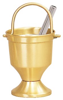 K164 Holy Water Pot w/Sprinkler and Liner K164 Holy Water Pot w/Sprinkler and Liner, aspergillum, holy water bucket