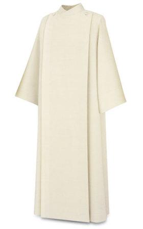 11-20 Front Wrap Alb in Beige Livorno Fabric Alb, vestment, slabbinck, Belgium, Albs, front wrap, coat style, 11-20, 11/20, wool, Livorno, priest garment