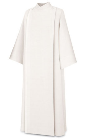 11-61 Front Wrap Alb in White Terlenka Fabric Alb, vestment, slabbinck, Belgium, Albs, front wrap, coat style, 11-61, 11/61, Terlenka, priest garment