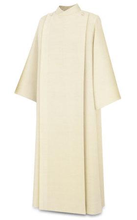 11-67 Front Wrap Alb in Beige Vaticano Fabric Alb, vestment, slabbinck, Belgium, Albs, front wrap, coat style, 11-67, 11/67, Vaticano, priest garment