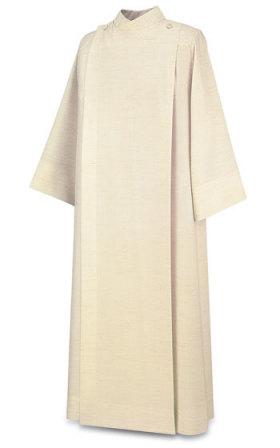11-70 Front Wrap Alb in Flax Leo Fabric Alb, vestment, Slabbinck, Belgium, Albs, coat style, Front Wrap Alb, 11-70, 11/70,  Leo, priest garment