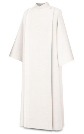 11-87 Front Wrap Alb in White Ravenna Alb Alb, vestment, slabbinck, Belgium, Albs, front wrap, coat style, 11-92, 11/92, wool, Brugia, priest garment