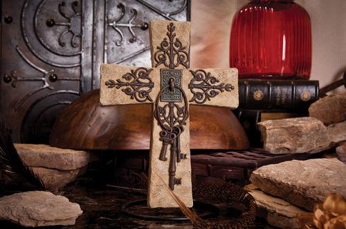 Decorative Cross with Keys decorative cross, standing cross, keys, home decor, table cross,FC-1300