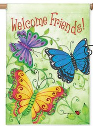 Butterfly Welcome House Flag house flag, home gift, outdoor flag, blessed house, butterfly flag, flower flag, friends,H00163