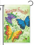 Butterfly Welcome Garden Flag garden flag, home gift, outdoor flag, blessed house, butterfly flag, flower flag, friends,G00163
