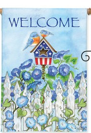 Patriotic Birdhouse House Flag house flag, home gift, outdoor flag, birdhouse house, patriotic flag, flower flag,  H00048