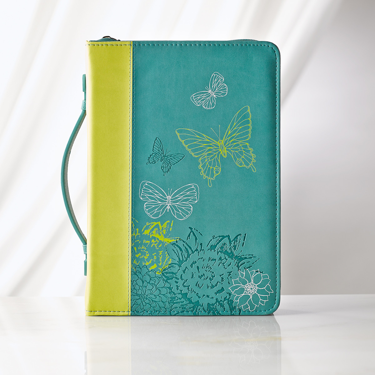 Large Lime/Dusty Blue Butterflies Bible Cover bible cover, large bible cover, book cover, zipper cover, religious bible cover,debossed bible cover, inspirational bible cover, BBL526