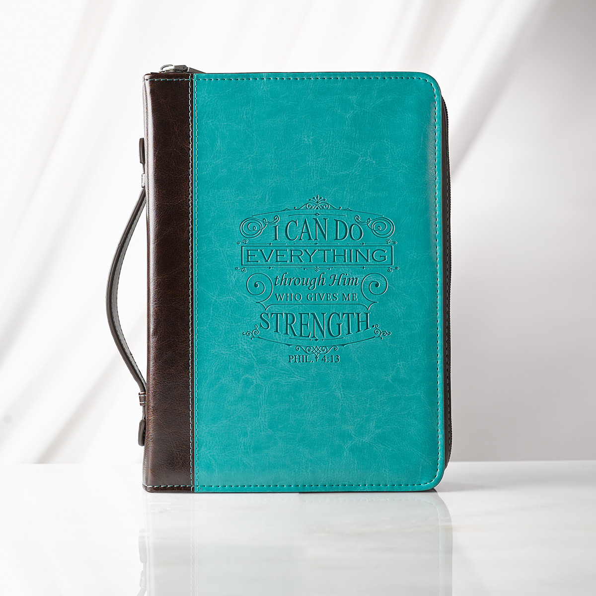 Large I Can Do Everything Aqua Bible Cover bible cover, large bible cover, book cover, zipper cover, religious bible cover,debossed bible cover, inspirational bible cover, BBL563