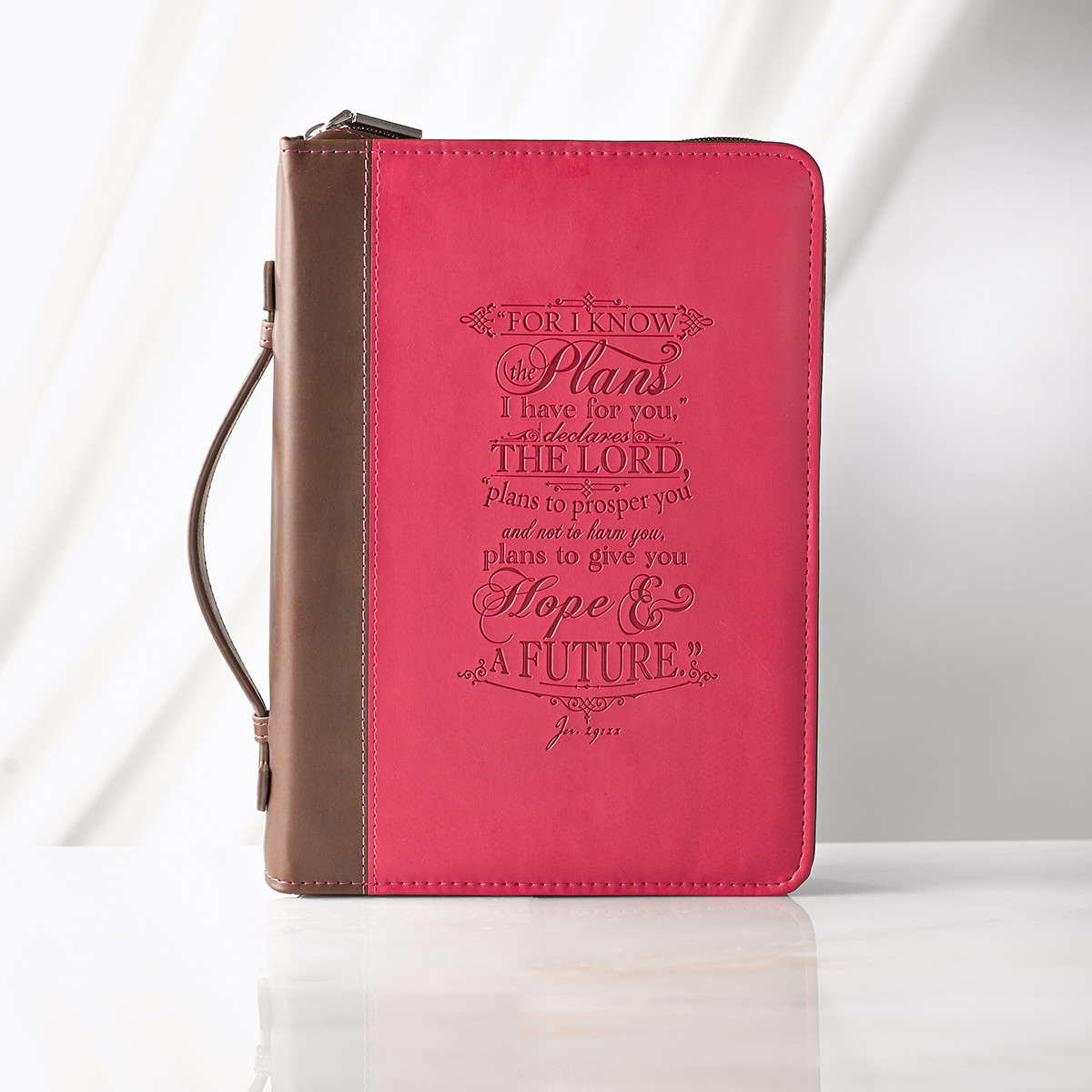Large I know the Plans Pink Bible Cover bible cover, large bible cover, book cover, zipper cover, religious bible cover,debossed bible cover, inspirational bible cover, BBL564