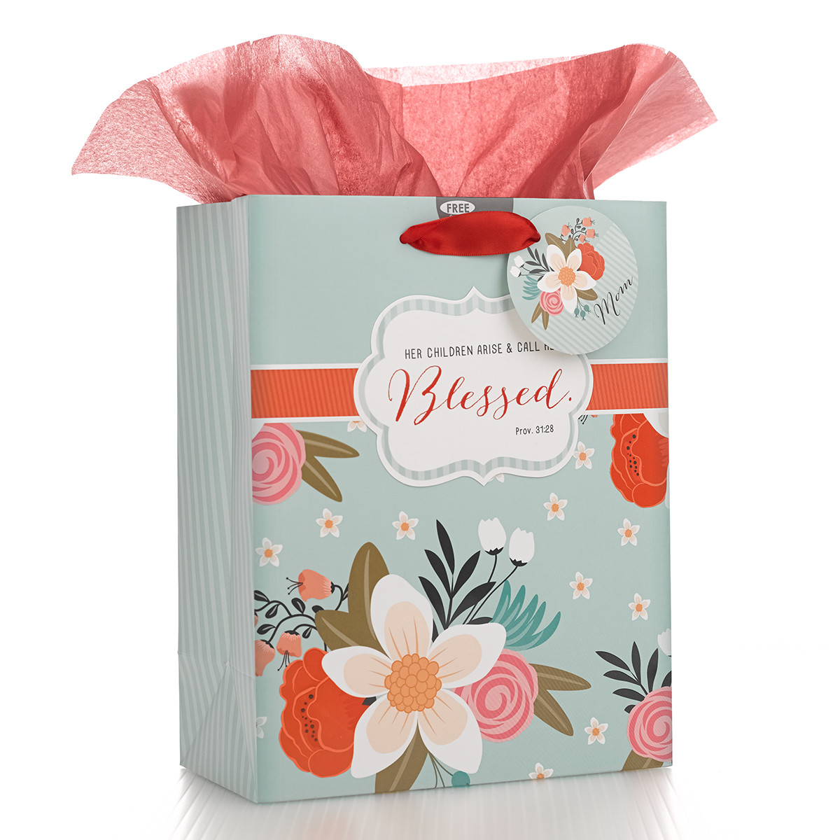 Med Gift Bag: Blessed gift bag, medium gift bag, tissue and bag, gift wrap, mothers day, mom,GBA075